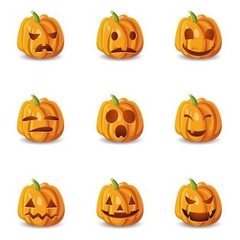Conjunto isolado de abóbora de halloween