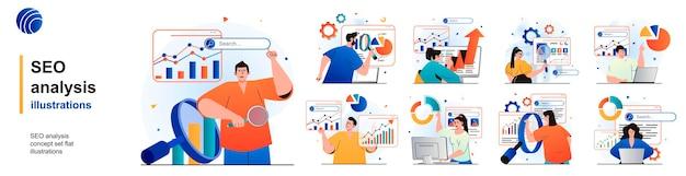 Conjunto isolado de análise de seo analise dados de otimização de estratégia bem-sucedida de cenas em design plano