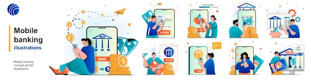Conjunto isolado de banco móvel pagamentos por serviços usando aplicativos móveis de cenas em design plano