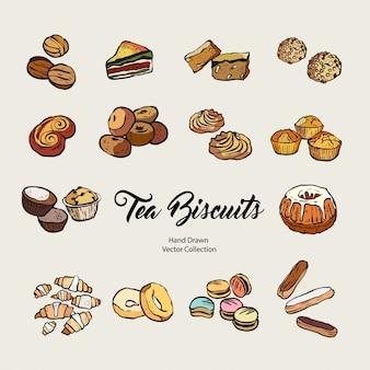 Conjunto isolado de biscoitos mão desenhada
