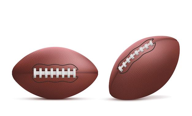 Conjunto isolado de bolas de rugby realista
