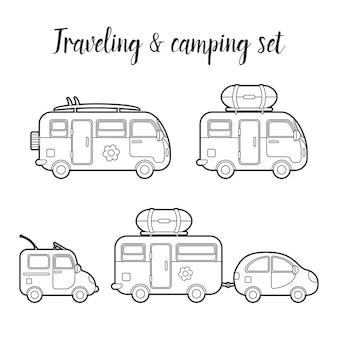 Conjunto isolado de caravana e reboque de transporte. ilustração dos tipos de casa móvel. ícone de vetor de caminhão viajante. conceito de viagem de verão em caminhão viajante familiar