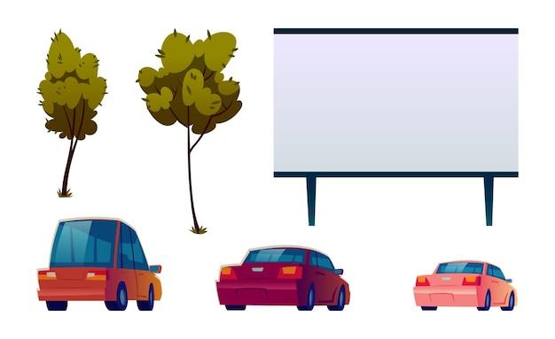 Conjunto isolado de cinema de rua de carro
