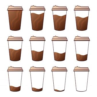 Conjunto isolado de copos de papel para café