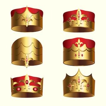 Conjunto isolado de coroa de realeza dourada