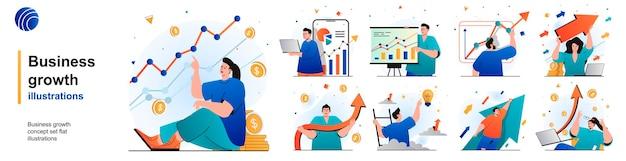 Conjunto isolado de crescimento de negócios desenvolvimento bem-sucedido e crescimento financeiro de cenas em design plano