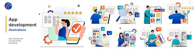 Conjunto isolado de desenvolvimento de aplicativo os programadores desenvolvem software e software de cenas em design plano
