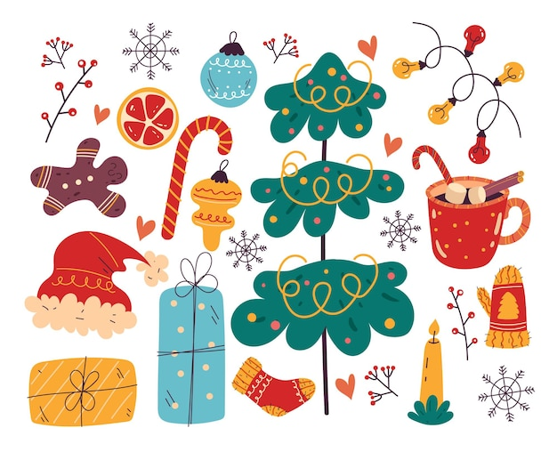 Conjunto isolado de elemento de design de feliz natal e feliz ano novo
