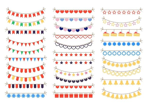 Conjunto isolado de elementos de decoração de celebração de guirlandas coloridas