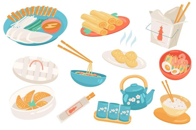 Conjunto isolado de elementos fofos de comida chinesa