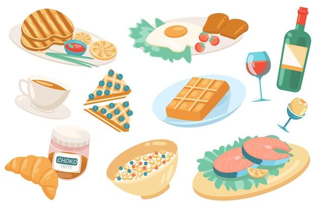 Conjunto isolado de elementos fofos de comida europeia