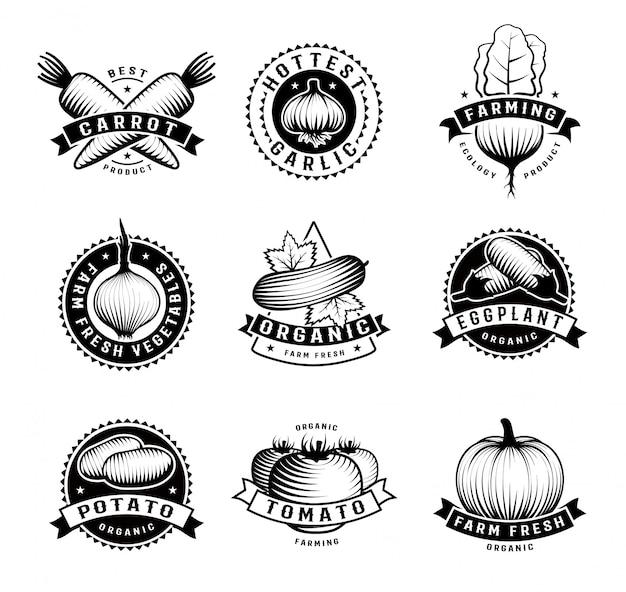 Conjunto isolado de emblemas de vegetais