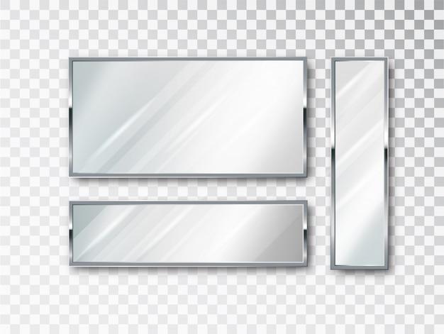 Conjunto isolado de espelho realista. design 3d realista para móveis de interior. superfícies de vidro refletindo isoladas.