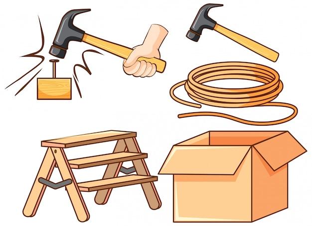 Conjunto isolado de ferramentas no fundo branco
