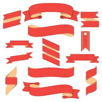 Conjunto isolado de fitas curvas vermelhas