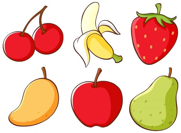 Conjunto isolado de frutas