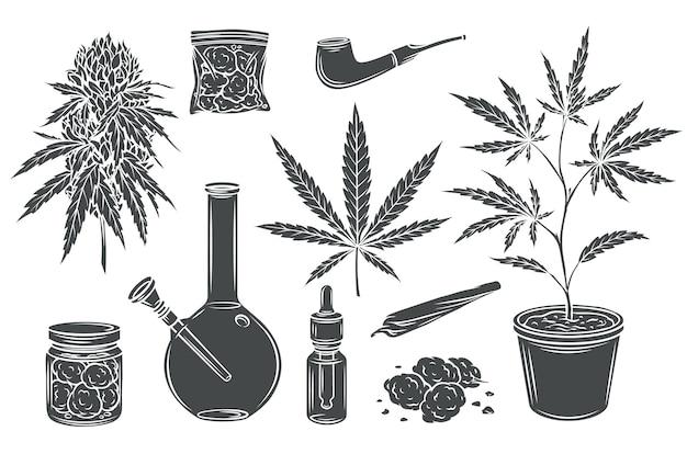 Conjunto isolado de glifo monocromático de maconha, folhas e sementes de cânhamo, botão de cannabis.