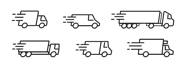 Conjunto isolado de ícone de caminhão de entrega de frete rápido