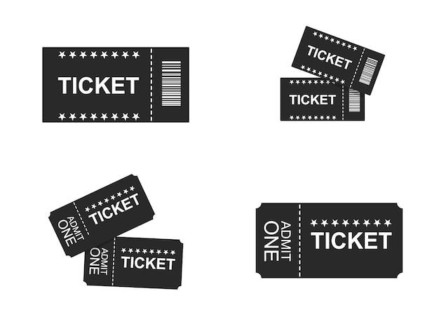 Conjunto isolado de ícones de bilhetes
