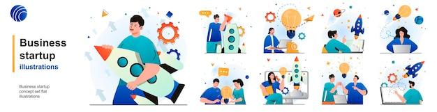 Conjunto isolado de inicialização de negócios desenvolvimento bem-sucedido de uma nova ideia de negócios de cenas em design plano