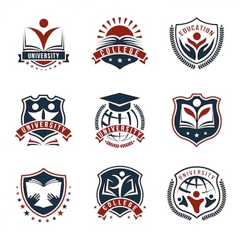 Conjunto isolado de logotipos de universidade colorida