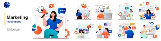 Conjunto isolado de marketing estratégia de promoção bem-sucedida atração de clientes de cenas em design plano