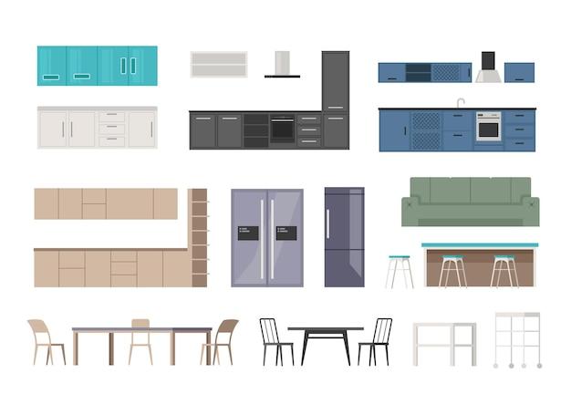 Conjunto isolado de móveis de cozinha