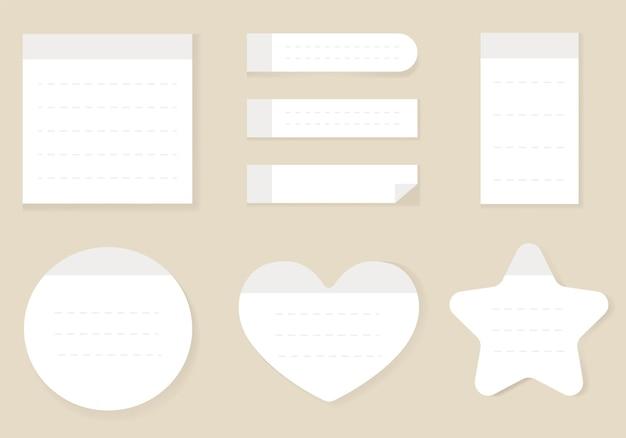 Conjunto isolado de notas adesivas de papel vazio de estilo realista branco ilustração em vetor plana dos desenhos animados