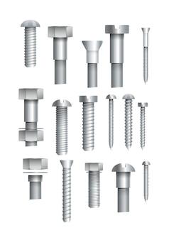 Conjunto isolado de parafusos e parafusos metálicos