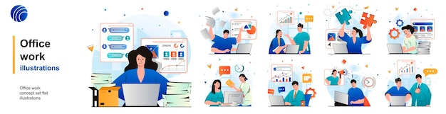 Conjunto isolado de trabalho de escritório os funcionários analisam a papelada de dados e executam tarefas de cenas em design plano