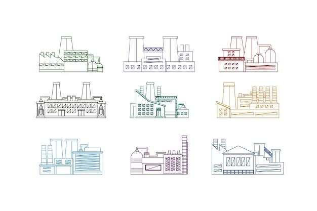 Conjunto isolado do estilo de design de linha fina de fábrica ou edifício industrial. ilustração do vetor da indústria de energia