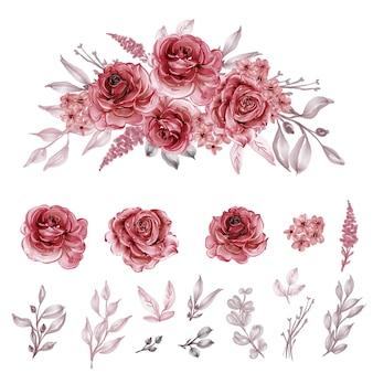 Conjunto isolado flor aquarela vermelha marrom e folha