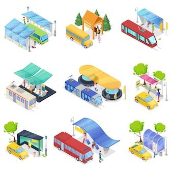 Conjunto isométrico 3d de transporte público da cidade
