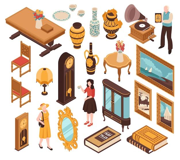 Conjunto isométrico antiquário de móveis vintage, marcando relógios velhos livros e itens para o interior de casa isolado