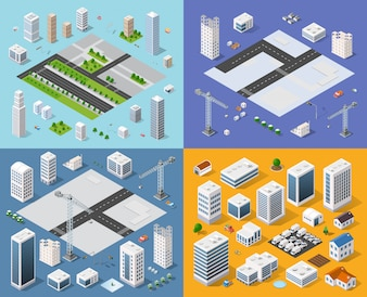 Conjunto isométrico cidade 3D