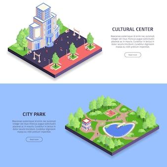 Conjunto isométrico com ilustração de descrições de centro cultural e parque da cidade