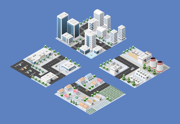 Conjunto isométrico da cidade moderna