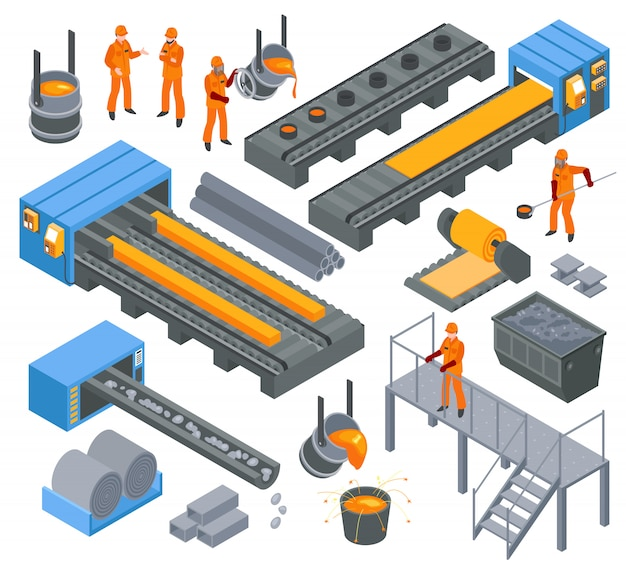 Conjunto isométrico da indústria siderúrgica