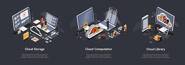 Conjunto isométrico de armazenamento em nuvem