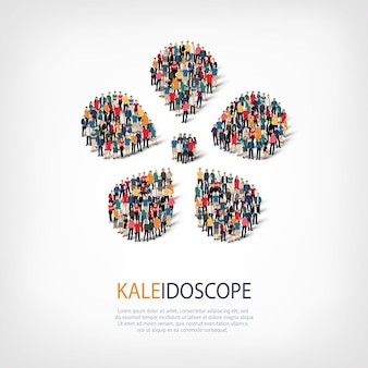Conjunto isométrico de caleidoscópio, conceito de infográficos da web de uma praça lotada