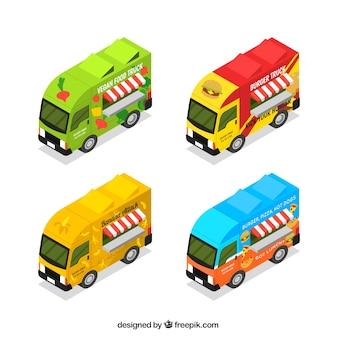 Conjunto isométrico de caminhões de alimentos