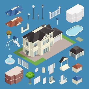 Conjunto isométrico de casa subúrbio em fundo azul