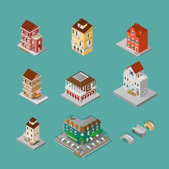 Conjunto isométrico de construção de veneza