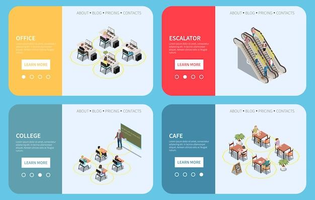 Conjunto isométrico de distanciamento social de banners horizontais com botões de texto e pessoas a uma distância segura.