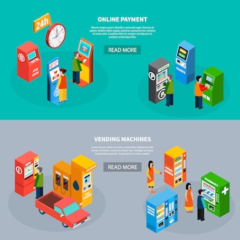 Conjunto isométrico de dois banners horizontais com pessoas que usam terminais de pagamento on-line e diferentes máquinas de venda automática 3d ilustração vetorial isolado