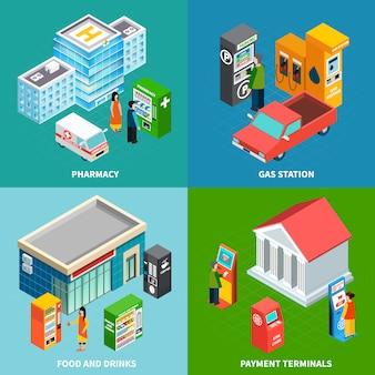 Conjunto isométrico de edifício colorido com terminais de pagamento e máquinas de venda automática que vendem alimentos bebidas e produtos farmacêuticos 3d ilustração em vetor isométrica