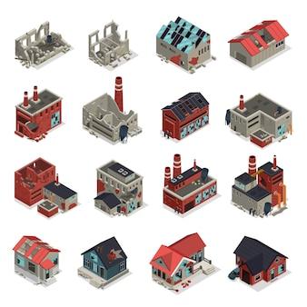 Conjunto isométrico de edifícios abandonados