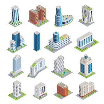 Conjunto isométrico de edifícios