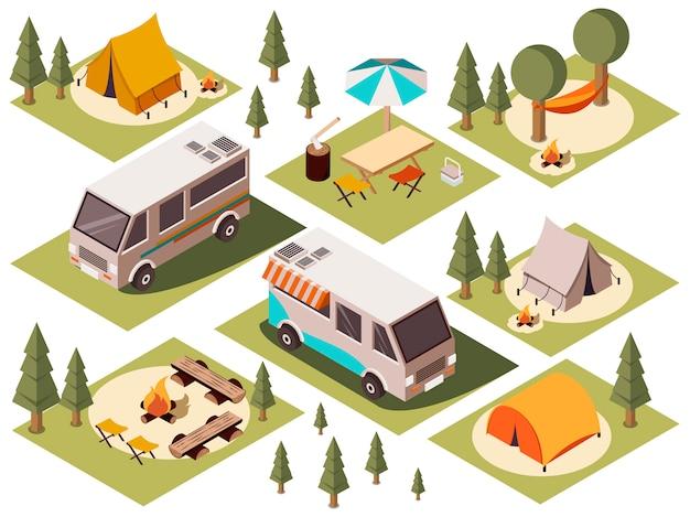 Conjunto isométrico de elementos do acampamento
