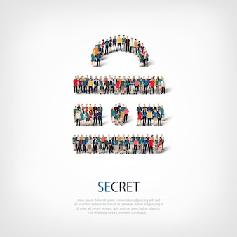 Conjunto isométrico de estilos abstratos, secretos, símbolo web infográficos ilustração de conceito de uma praça lotada. grupo de ponto de multidão formando uma forma predeterminada.
